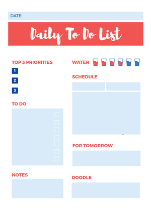 Daily Task List Schedule Design
