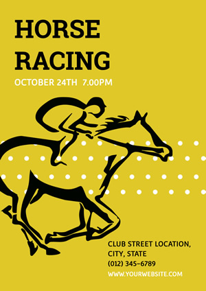 Yellow Horse Racing Poster Poster Design