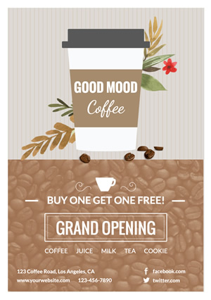 Framed Cafe Grand Opening Flyer Design