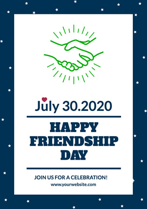 White and Blue Starry Friendship Day Poster Design