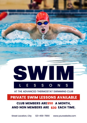 Refreshing Swimming Lesson Poster Design