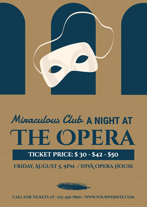 White Mask Ticket Information Opera Poster design