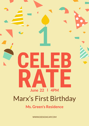 Marx First Birthday Poster Design