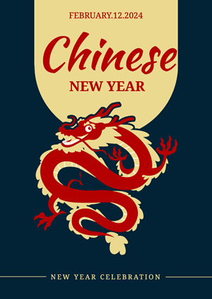 Red Dragon Chinese New Year Poster Design