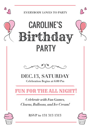 Cupcakes and Balloons Birthday Party Flyer Design