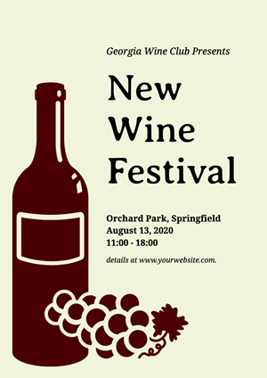 Grape and Bottle Wine Festival Poster Design