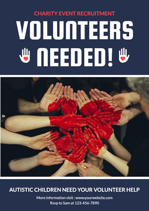 Joint Hands and Heart Volunteer Poster Poster Design