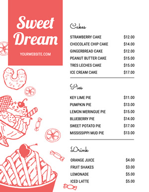 Sweet Dessert Menu Design