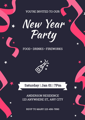 Grand New Year Party Invitation Design
