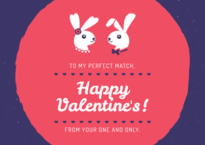 Cute Rabbit Couple Card Design