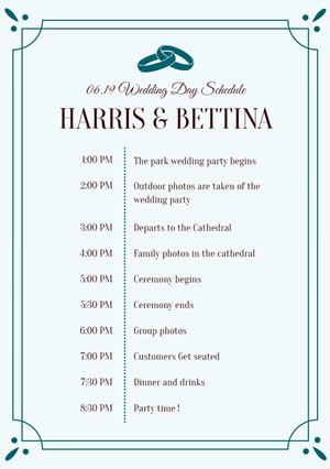 Wedding Day Timeline Schedule Design