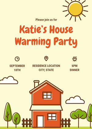 Cartoon Housewarming Invitation Design