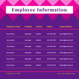 Company Employee Information Table Chart Design