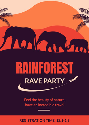 Elephant Rainforest Tour Travel Poster Design