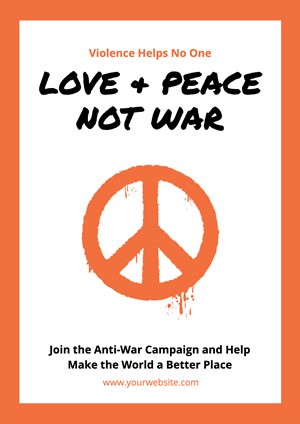 Peace and Love Antiwar Poster Poster Design