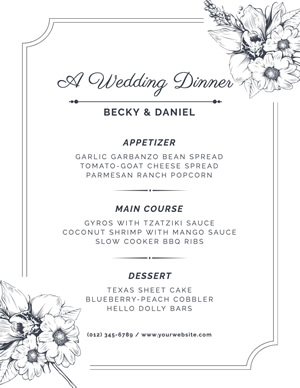 Wedding Dinner Menu design