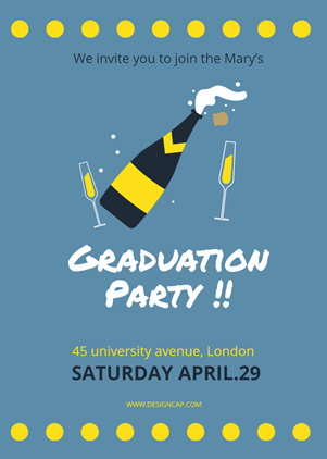 Champagne Graduation Party Invitation Design