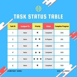 Task Status Table Chart Design