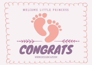 Cute Baby Footprint Card Design