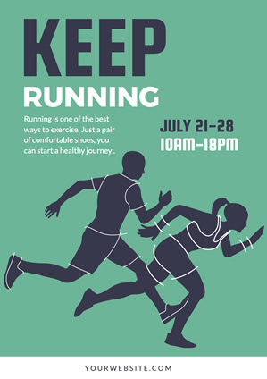 Green Keep Running Poster Poster Design