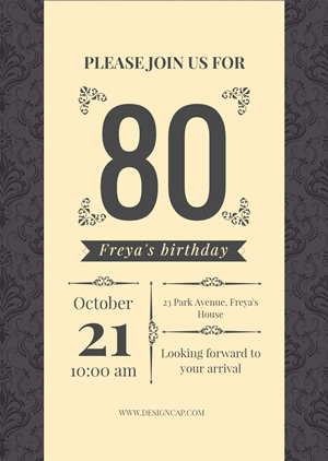 80th Birthday Invitation Design