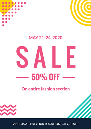 Simple Fashion Section Sale Poster Design