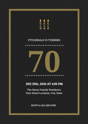 70th Birthday Invitation Design