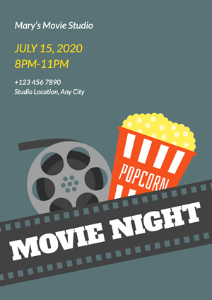 Film Videotape and Popcorn Movie Night Poster Design