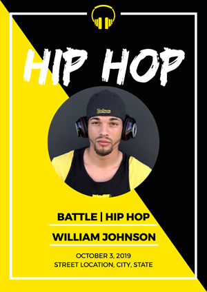 Yellow and Black Hip Hop Poster Poster Design