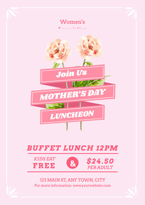Pink Floral Mothers Day Luncheon Poster Design