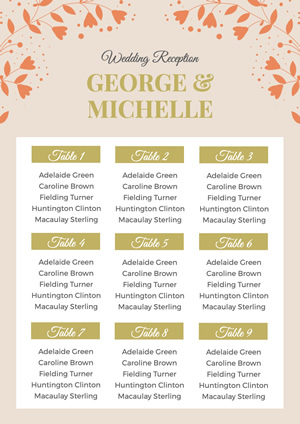 Wedding Reception Seating Poster Design