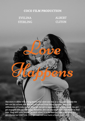 Couple Love Movie Poster Poster Design