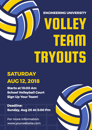 Blue Volleyball Team Tryout Poster Design