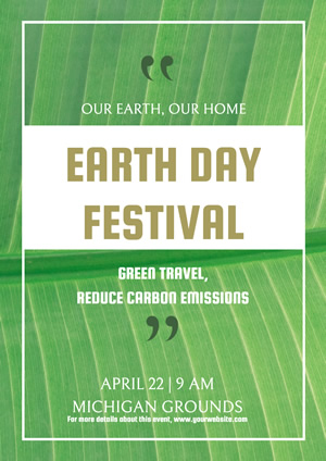 Simple Green Earth Day Poster Poster Design