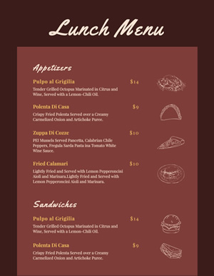 Restaurant Lunch Menu Design