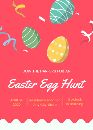 Colorful Easter Egg Hunt Invitation Design