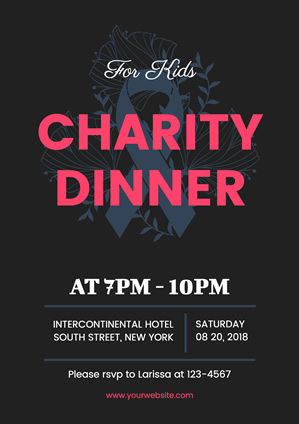 Silk Ribbon Charity Dinner Poster Poster Design