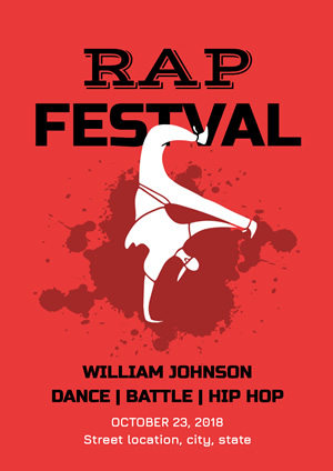 Red Rap Festival Poster Poster Design