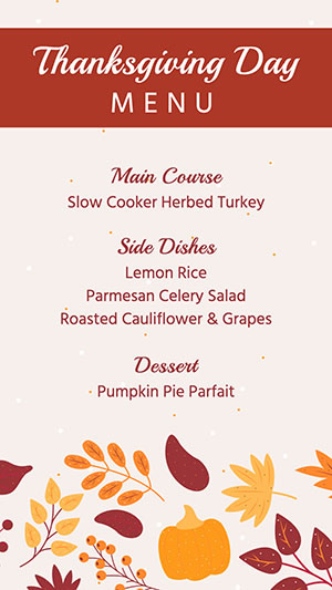 Thanksgiving Menu Instagram Story Instagram Story Design