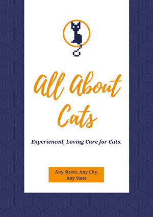 Blue and White Cat Care Service Poster Design