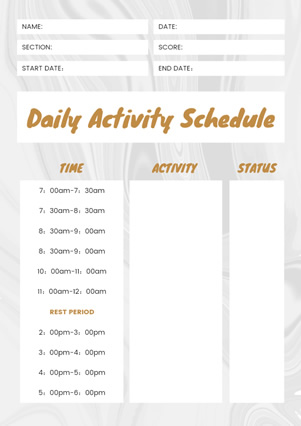 Daily Activity Schedule Design