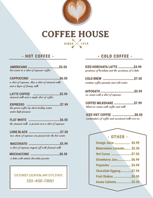 Coffee House Menu Design