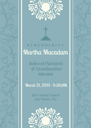 Solemn Funeral Invitation Design