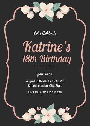 18th Birthday Invitation Design