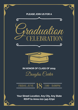 Golden Mortarboard Graduation Invitation Design