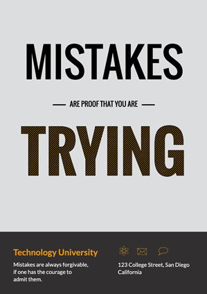 Motivational Mistakes Trying Poster Poster Design