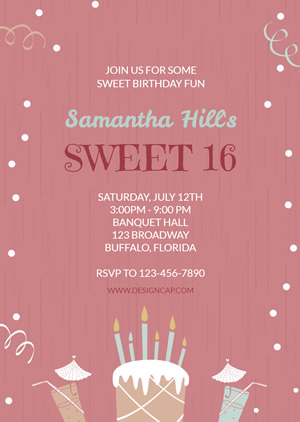 16th Birthday Invitation Design