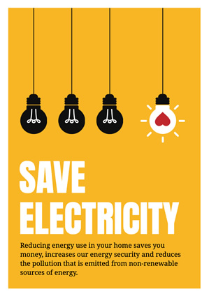 Yellow Save Electricity Poster design
