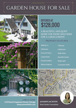 Garden House Photo and Location Real Estate Flyer design
