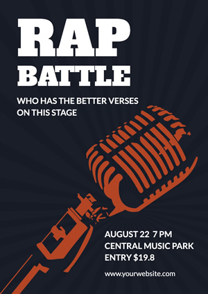 Blue Microphone Rap Battle Poster Design
